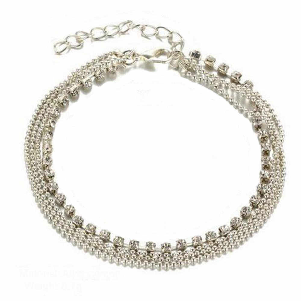 Stylish Jewelry Fashion Women silver color Anklet Multi Layer Silver Crystal Ball Bracelet Anklet Ankle Women Jewelry 4H