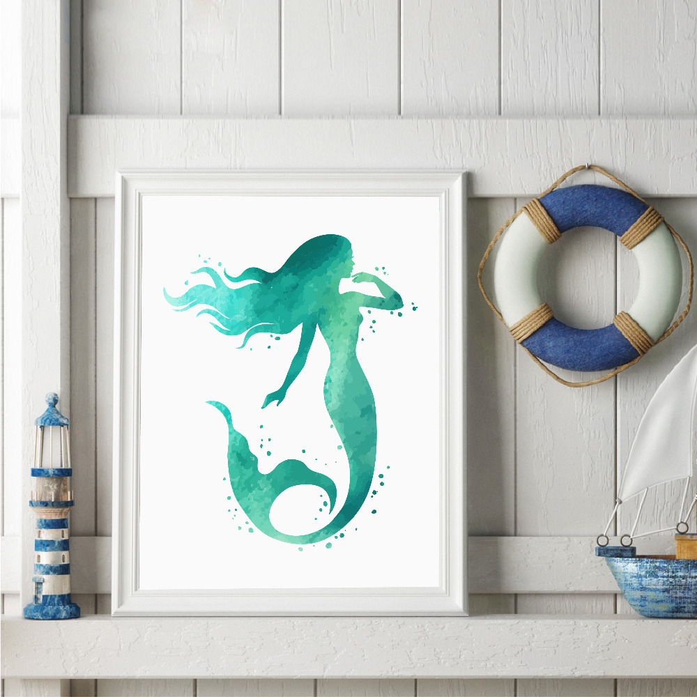 Watercolor Mermaid Wall Art Print And Poster Hand Drawn