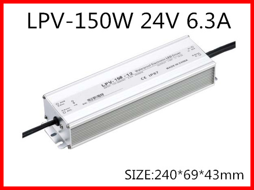 150W 24V 6.3A LED constant voltage waterproof switching power supply IP67 for led drive LPV-150-24 90w led driver dc40v 2 7a high power led driver for flood light street light ip65 constant current drive power supply