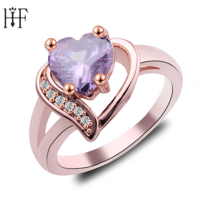 Bohemian Female Purple Fire Opal Heart Ring Fashion Champagne Zircon Rose Gold Filled Jewelry Vintage Wedding Rings For Women