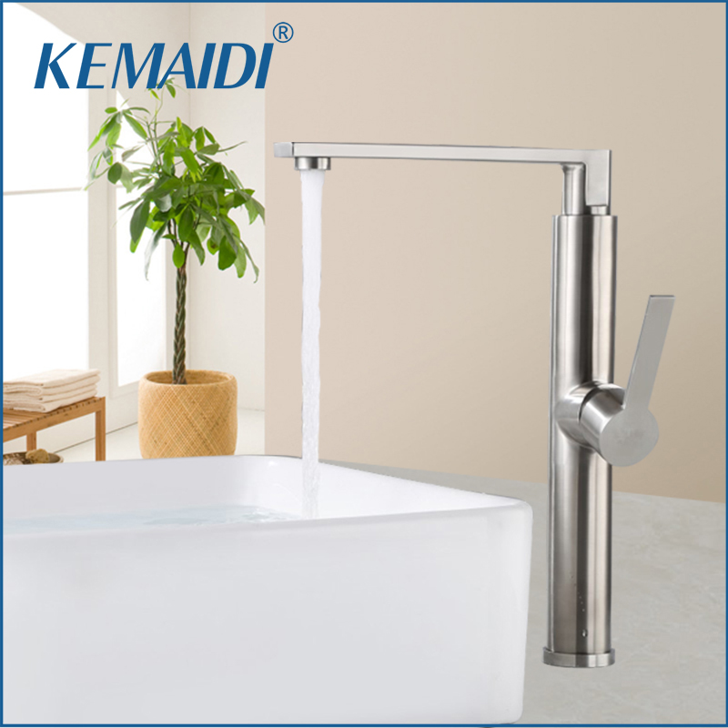 KEMAIDI New Design  Bathroom Basin Faucet Mixer Waterfall Hot And Cold Water Taps Bathroom Sink Faucets Tap Deck Mounted Mixer  free shipping basin crane bathroom led stream light water faucet deck mounted cold and hot water mixer handle water faucets
