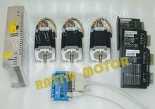 3 Оси С ЧПУ контроллер комплект, 3 ШТ. Nema23 ЧПУ шагового двигателя (Двойной вал) 76 мм, 3А, 270oz-в и Водитель Мотора 4A, 50 В и питания и доска