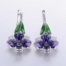 цены Fashion Earrings Pear Shape Purple Big Stone and Deep Purple Enamel Earring for Women 925 Sterling Silver Wedding Party Jewelry