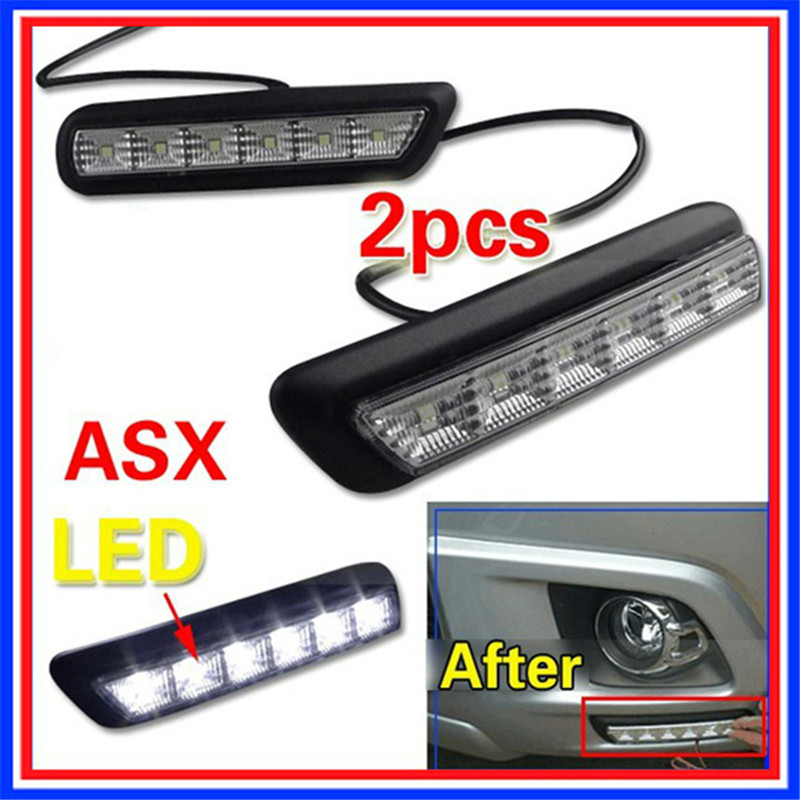 Front bumper Replace LED DRL Daytime Running Light Driving Fog Lamps For MITSUBISHI OUTLANDER SPORT RVR ASX 2010-2012 2pcs new 12v 55w left right front fog lamp light 8321a467 sl870 1 fit for mitsubishi outlander asx rvr