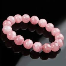 Madagascar Genuine Natural Rose Pink Quartz Bracelets 12mm 13mm 14mm 15mm Healing Crystal Stretch Round Bead Bracelet Women