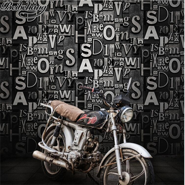 Beibehang Retro Fashion English Stereoscopic Personality Wallpaper Living Room Bar Cafe Studio Background Wall Paper