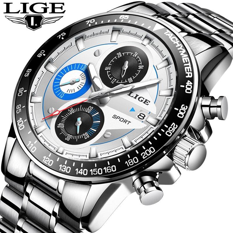 LIGE Mens Watches Top Brand Luxury Fashion Business Quartz Watch Men Sport Full Steel Waterproof Silver