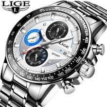 купить LIGE Mens Watches Top Brand Luxury Fashion Business Quartz Watch Men Sport Full Steel Waterproof Silver Clock relogio masculino по цене 1032.98 рублей