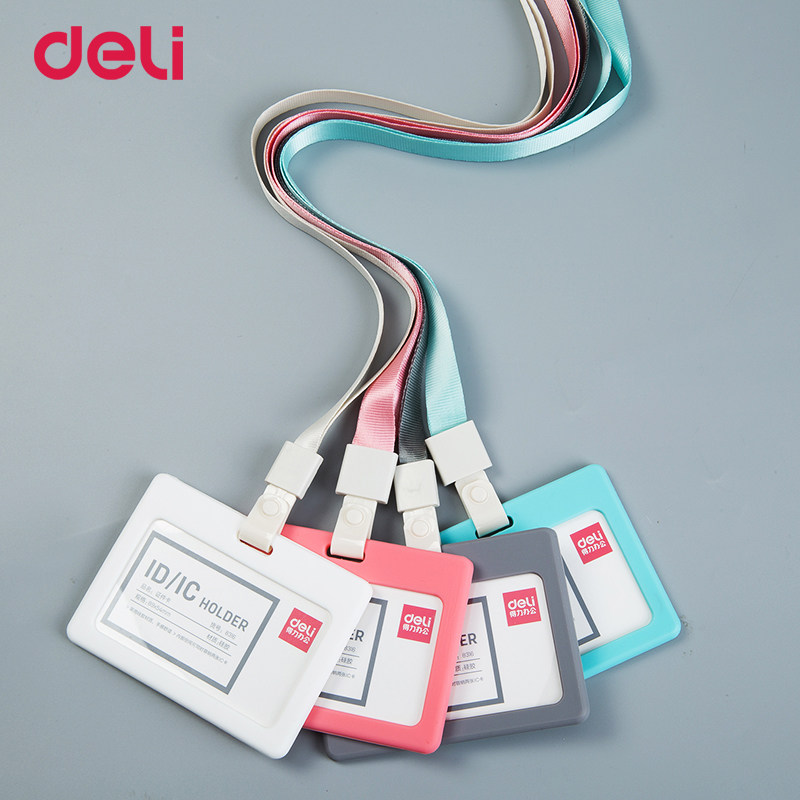 Deli wholesale 4 color 2 style soft ID/IC work card holder lanyard set for company office supply employee name tag badge protect