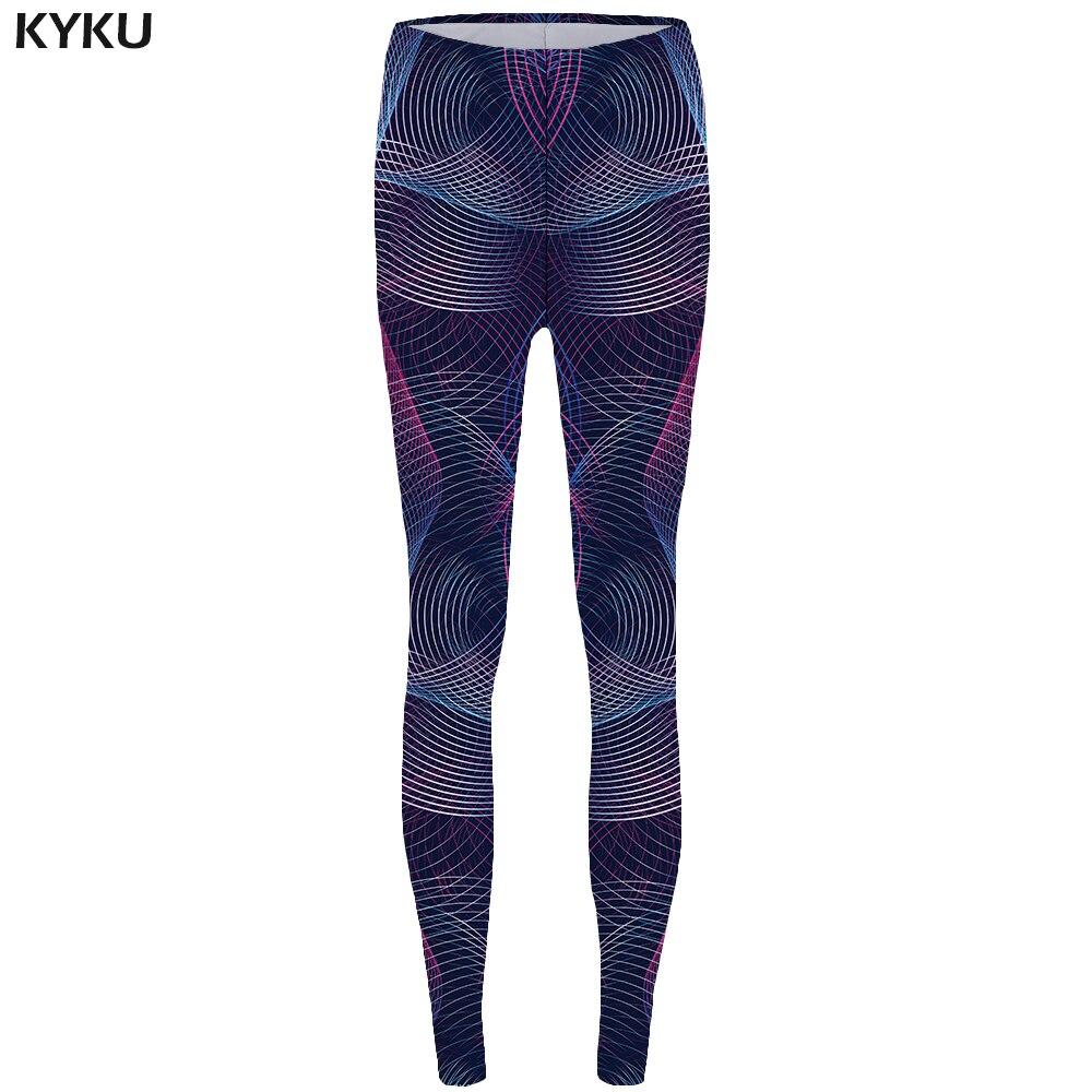 KYKU Line Leggings Geometry Legging 3d Fashion Trousers For  Long Legings  High Waist  Leggins Women Printed Bodybuilding Lycra
