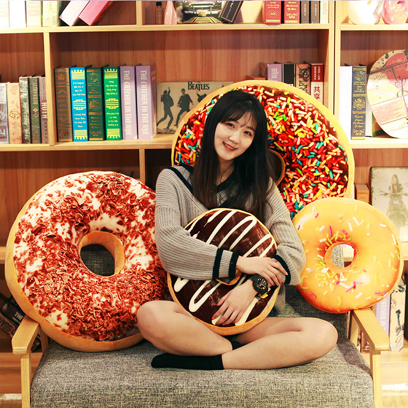 cute donuts pillow cushions for sofa and decorative soft plush pillow seat pad