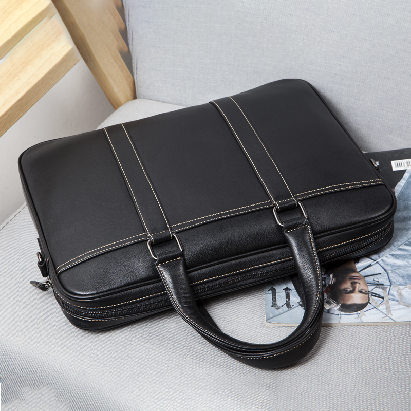 Luxury Genuine Leather Mens Bags Messenger Bag Men Leather Laptop Shoulder Bag Mens Business Briefcase Office Bags For Men  7612