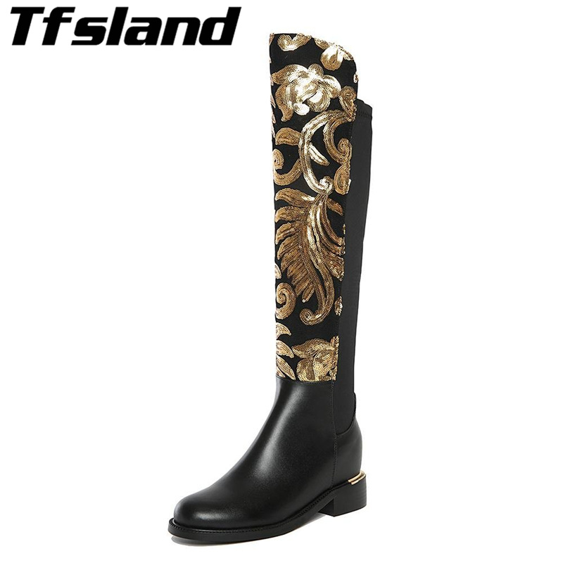 New Winter Women Genuine Leather Walking Shoes Thick Heel Glitter Knee High Boots Warm Plush Real Leather Boots Sneakers Size 42