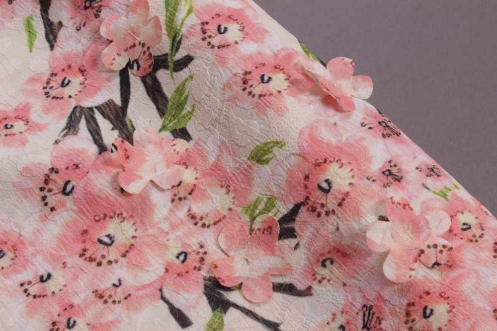 2018 Италия Сицилия лето и весна модный бренд цветочный принт Аппликации персик цветок Flare рукавом шелк тонкий Повседневное платье для женщи