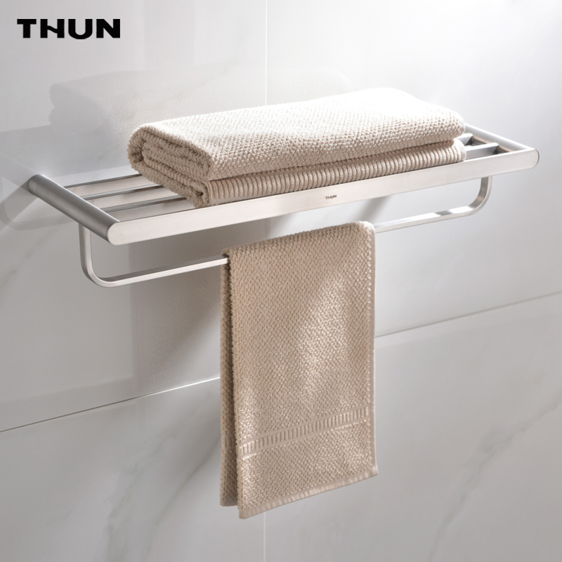 THUN  European Wall Mounted Brushed Finish 304 Stainless Steel Towel Bars Bathroom Towel Hanger Bathroom Accessories Towel Rack the ivory white european super suction wall mounted gate unique smoke door
