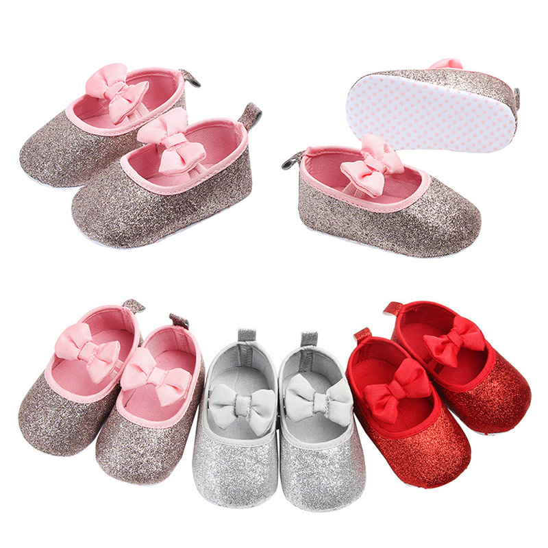 Sequins Golden Baby Shoes Girls Bow Cute Baby Girl Shoes Birthday Wedding Princess Shoes Soft Bottom First Walker Prewalkers