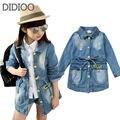 Детская одежда джинсовая пальто для девочек куртки осень и весна верхняя одежда для детей детская одежда девушки верхней одежды 2 4 6 7 8 10 лет старый