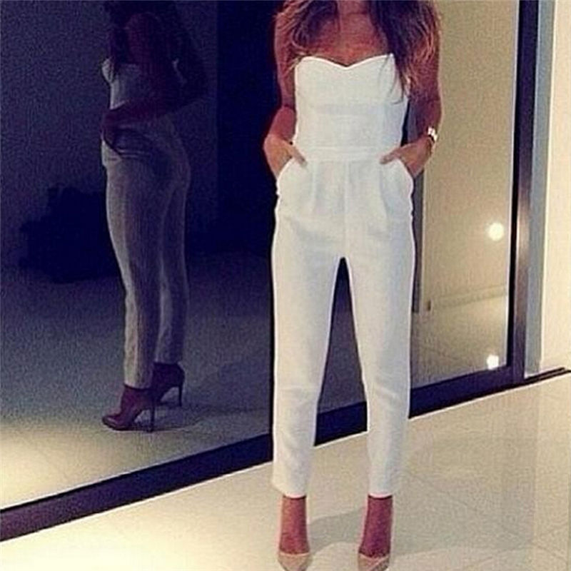 9dc6370c257 Sexy Women s High Waist Slim Jumpsuit Solid Pocket Long Jumpsuits White  Black Strapless Jumpsuit Womens Jumpsuit Overalls