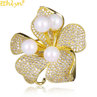 Ethlyn Elegant Prong Setting Cubic Zirconia Flower With Pearls Brooch Pins Scarf Pins Valentine S Day