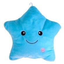 Lindo Colorido de la Historieta Body Pillow Glow LED Luz Luminosa Almohada Suave Sonrisa Estrella Cojín