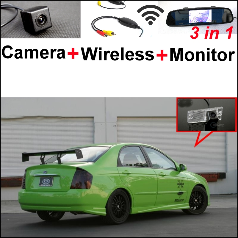 3 in1 Special Camera + Wireless Receiver + Mirror Monitor Easy Backup Parking System For KIA Spectra Spectra5 Sedan 2003~2009 wireless pager system 433 92mhz wireless restaurant table buzzer with monitor and watch receiver 3 display 42 call button