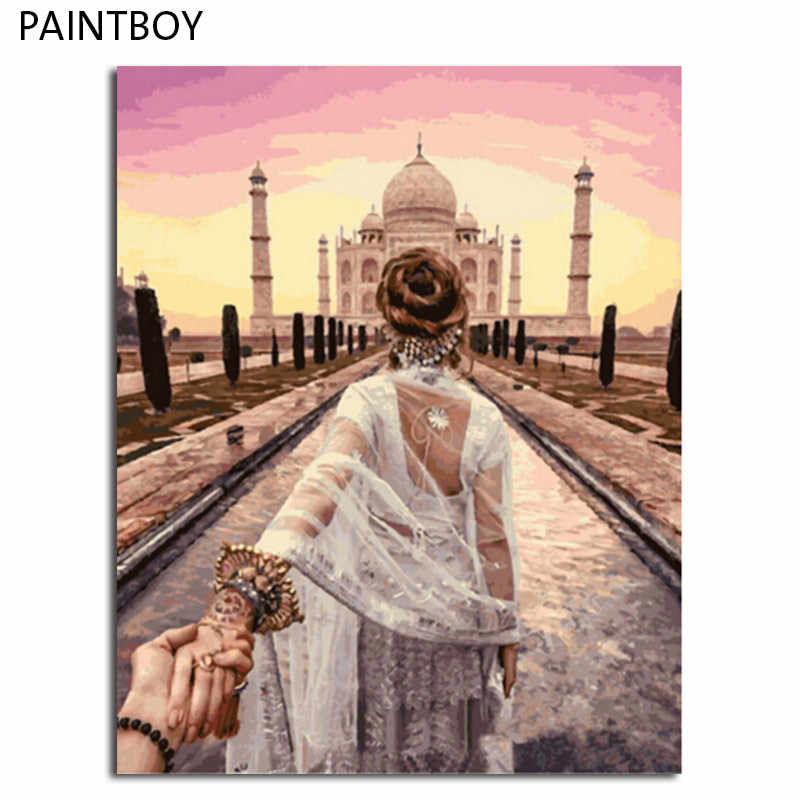 PAINTBOY Framed Pictures Figure Painting DIY Digital Oil Painting By Numbers Painting&Calligraphy Home Decor GX3442 40*50cm