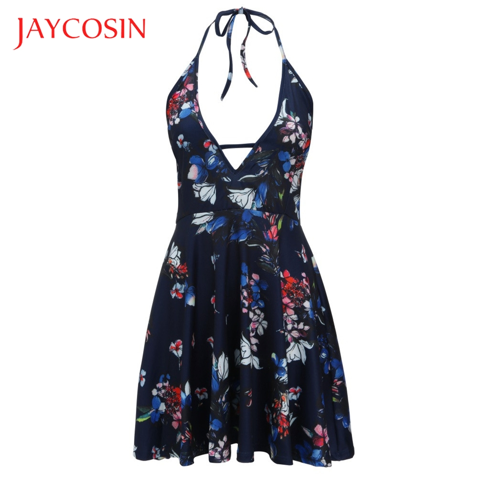 JAYCOSIN Printed V-Neck  Women Camis Floral Sleeveless Backleess Vindage Mini Dress Super Breathable Lightweight And Mini Dress