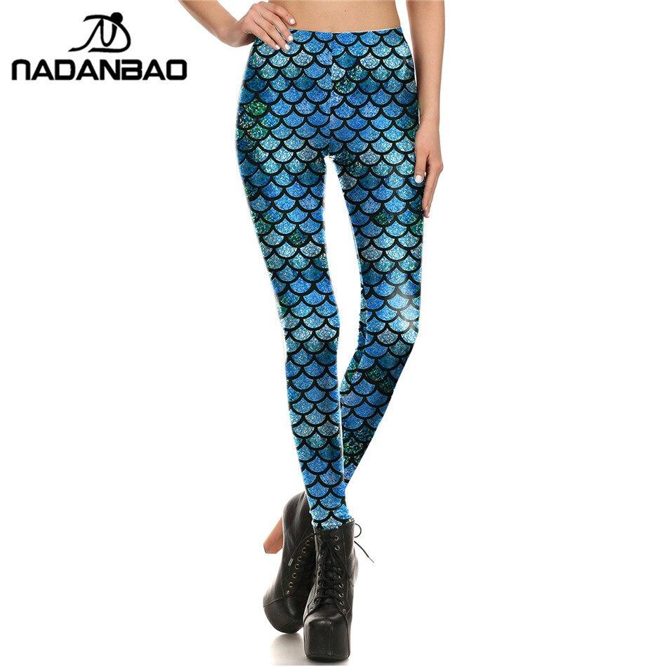 NADANBAO Brand New Scale Women Leggings Mermaid Leggins Printed Leggins Woman Clothings