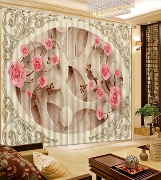 Decoration curtains  Customized Shading Circle pink Flowers Curtains For Bedroom 3D Curtain Blackout  Living Room