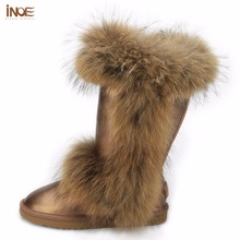 INOE mode wirklich großen fuchspelz hohe qualität winter schnee stiefel für frauen winter schuhe kuh leder stiefel schwarz braun wasserdicht