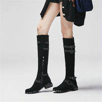NAYIDUYUN Thigh High Boots Women Genuine Leather Knee High Booties Caban Low Heel Tall Shaft Punk Motorcyle Boots Oxfords Shoes