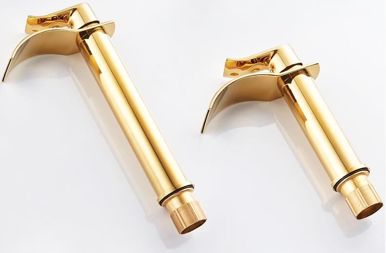 Basin Faucet Gold and white Waterfall Faucet Brass Bathroom Faucet Bathroom Basin Faucet Mixer Tap Hot and Cold Sink faucet