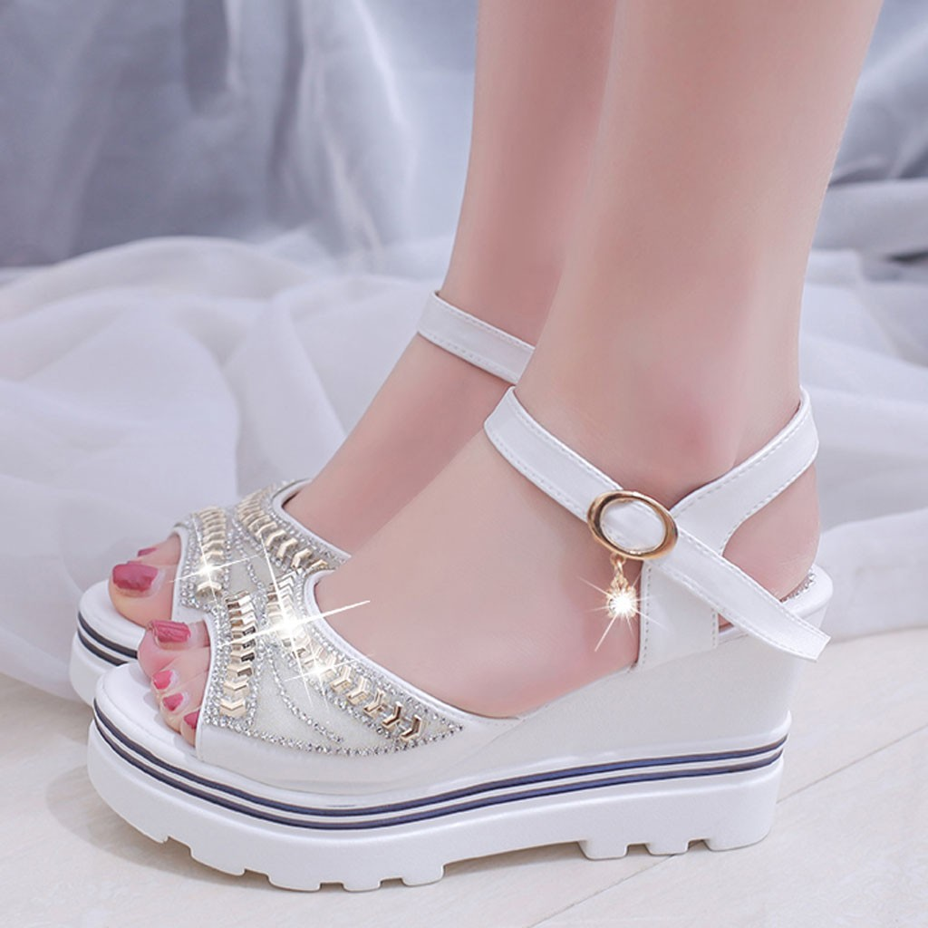 Roman Wedges Crystal Sandals Women Pumps Platform Sandals Wedges Thick Bottom Casual Women Shoes Comfortable White SandalsRoman Wedges Crystal Sandals Women Pumps Platform Sandals Wedges Thick Bottom Casual Women Shoes Comfortable White Sandals