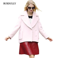 BURDULLY High Quality Winter European Coat Women 2019 Fashion New Elegant Pink Wool Coat Loose Woolen Jacket Sobretudo Feminino