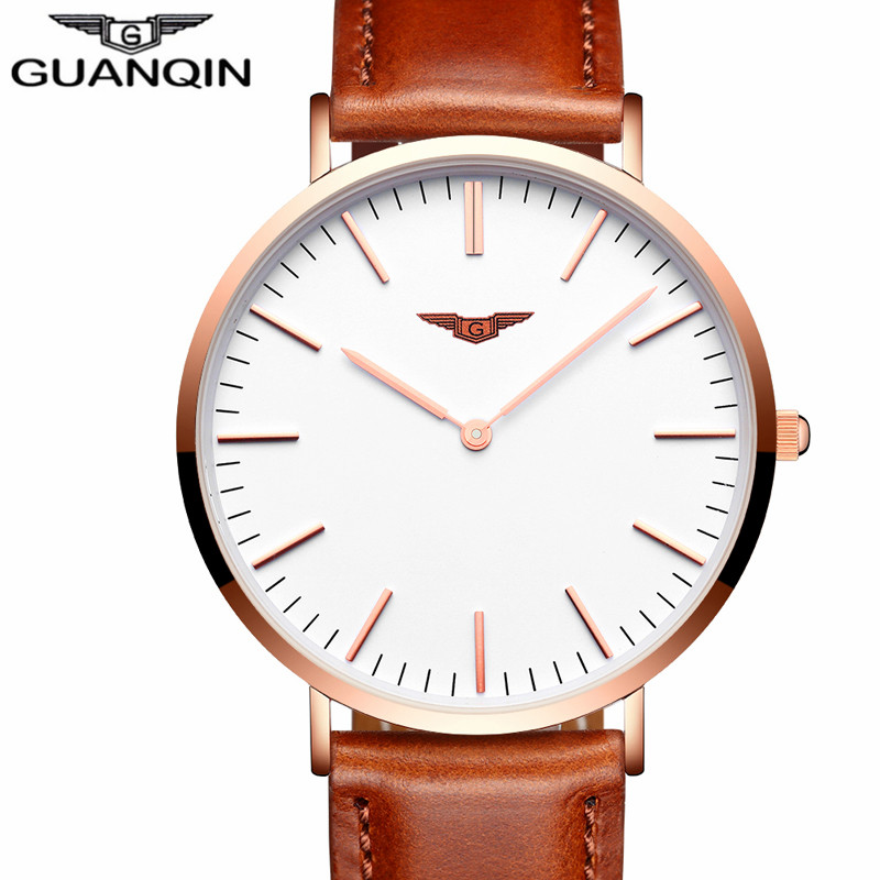 Relogio Masculino GUANQIN Fashion Men Watches Luxury Brand Luxury Ultra Thin Quartz Watch Men Simple Leather Strap Wristwatch new guanqin luxury fashion casual quartz watch men sports watches luminous analog leather strap wristwatch relogio masculino