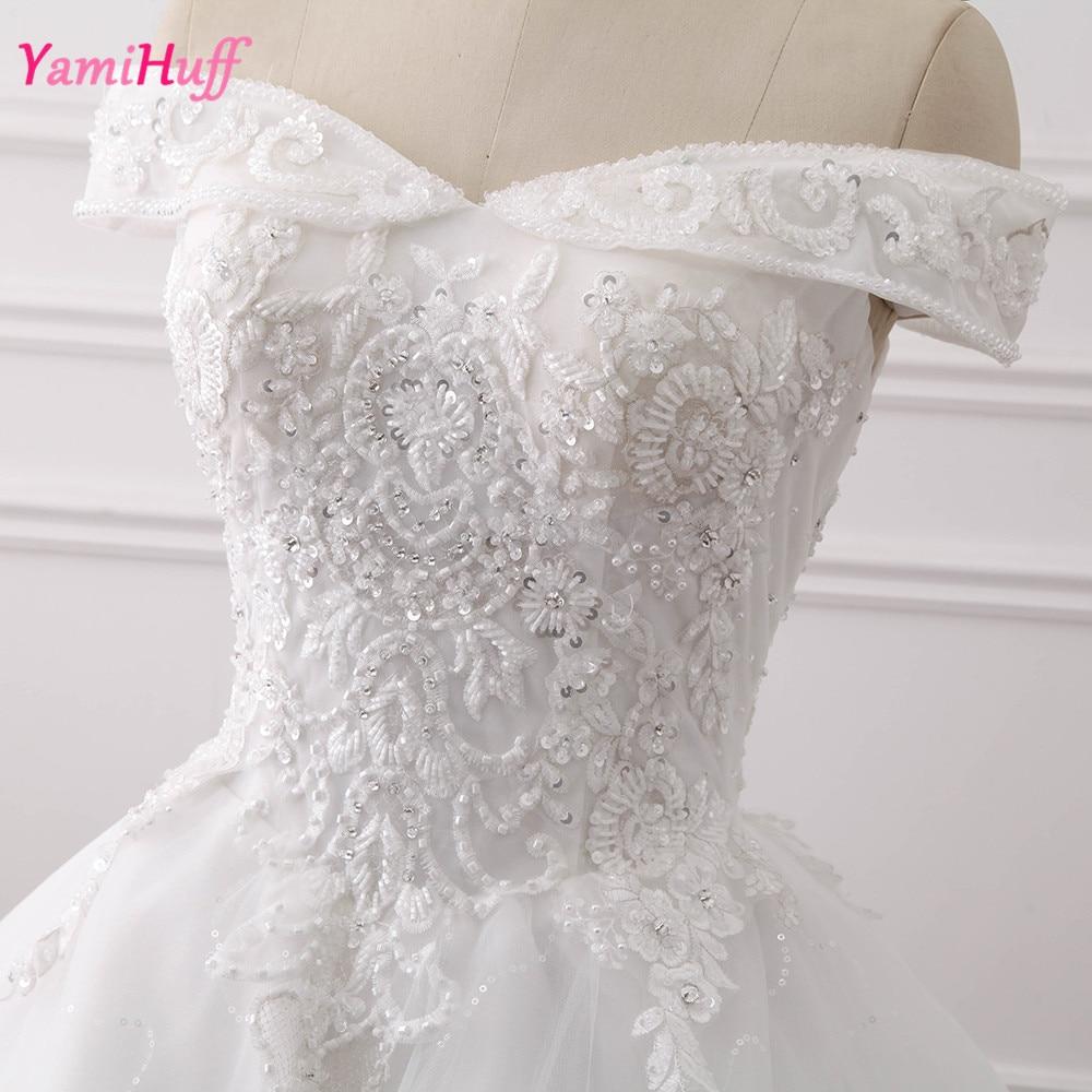 Christmas wedding dress korean - Vintage Princess Wedding Gowns Lace Bateau Beads Korean Bridal Dress Ball Gown Off Shoulder Brautkleid Floor