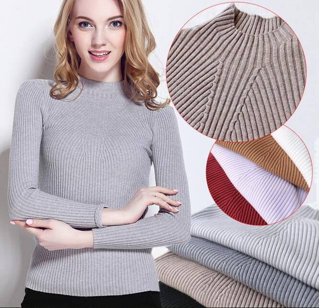 30c1ace29c 12 Colors Newest Cashmere Sweater Women Spring Knitted Pullovers Long  Sleeve Half Turtleneck Slim Elastic Sweater Slim Jumper