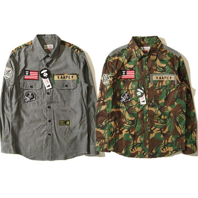 bape jacket camouflage shirts harajuku bape denim jacket camo canvas
