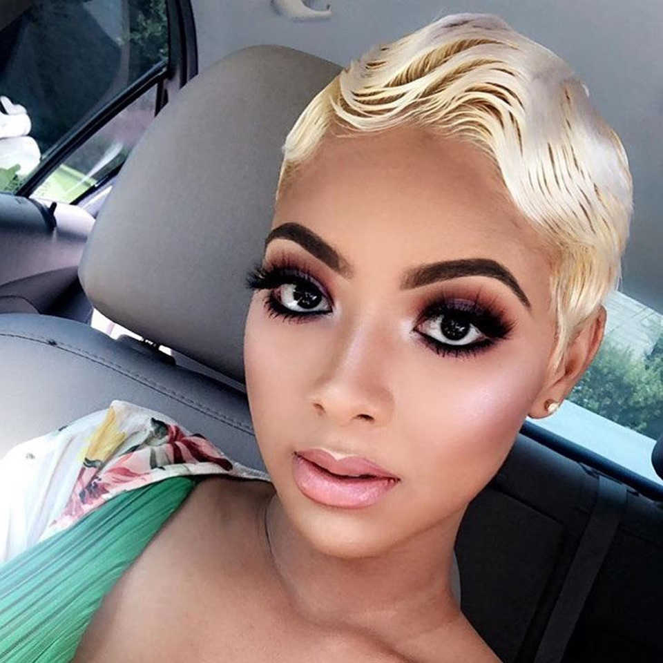 Sleek Brazilian Short Human Hair Wigs 613 Blonde Lace Wig Ombre Straight Human Hair Wig Remy Lace Front Human Hair Wigs