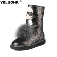 Large Size Mid Calf Snow Boots Women Snake Style Genuine Leather Winter Boots Warm Plush Female Winter Shoes High Quality