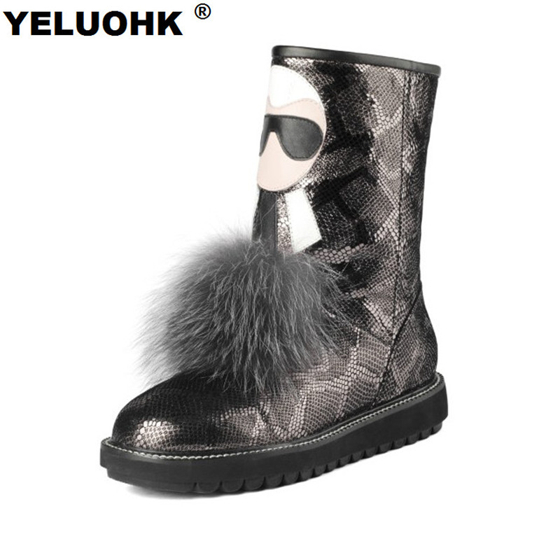 Large Size Mid Calf Snow Boots Women Snake Style Genuine Leather Winter Boots Warm Plush Female Winter Shoes High Quality недорго, оригинальная цена