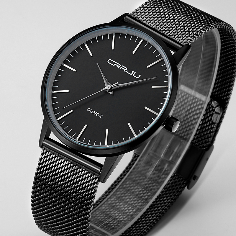 New Fashion top luxury brand black watches men quartz-watch stainless steel mesh strap ultra thin dial clock relogio masculino ultra thin dial new fashion top luxury brand ailang watches men quartz watch stainless steel mesh strap leisure simple clock