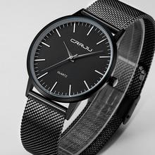 Новая Мода топ luxury brand черный часы мужчины кварцевые часы из нержавеющей стали сетка ремешок ультра тонкий циферблат часы relogio masculino