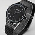 Nova Moda top marca de luxo preto relógios homens de quartzo-relógio de aço inoxidável cinta de malha ultra fino mostrador do relógio relogio masculino