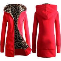 2017 Autumn Winter Warm Hoodies Zipper Leopard Print Thick Fleece Hoodie Thicken Comfortable and Loose Clothing