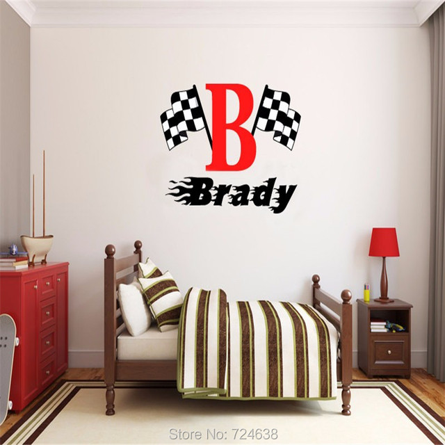 Free Shipping Boys Name Checkered Flag Racing Monogram Wall Decal - Monogram wall decals for nursery