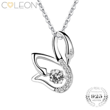 Coleon Silver Red Gem Swan Pendant Necklace with Dancing Necklace 925 Sterling Women Girls Gift Jewelry Long Chain Necklaces