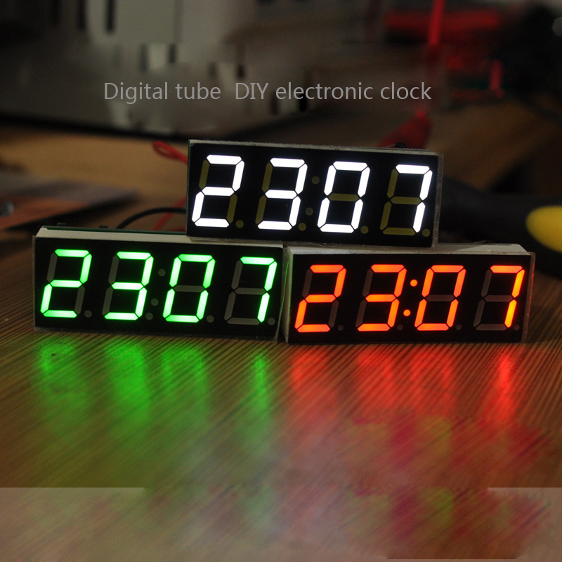 4 Bits Digital DIY kit LED Electronic Clock Microcontroller LED Digital Clock Time Thermometer MCU Voltage temperature time