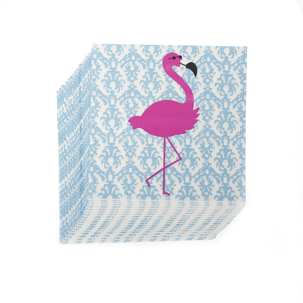 100% Virgin Wood Tissue 20pcs Flamingos Napkins Tissue Paper Kids Birthday Party Decor Wedding Party Festive Decor 33x33cm