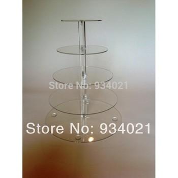 Good Quality 5 Tier Acrylic Wedding Cake Stands, Cupcake Display